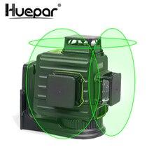 Huepar 3x360 лазерный уровень 3D зеленый луч самонивелирующийся перекрестный лазер литий-ионный аккумулятор и жесткий чехол для переноски