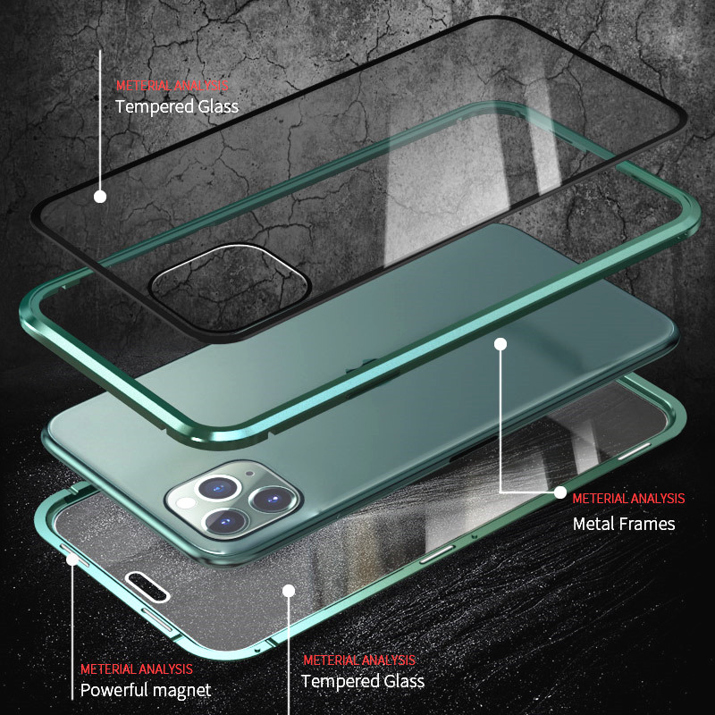 KISSCASE Magnetic Privacy Glass Case for iPhone 11 XR XS Case Anti-Spy 360 Protective Magnet Case for iPhone 11 Pro 6S 7 8 Cover 2