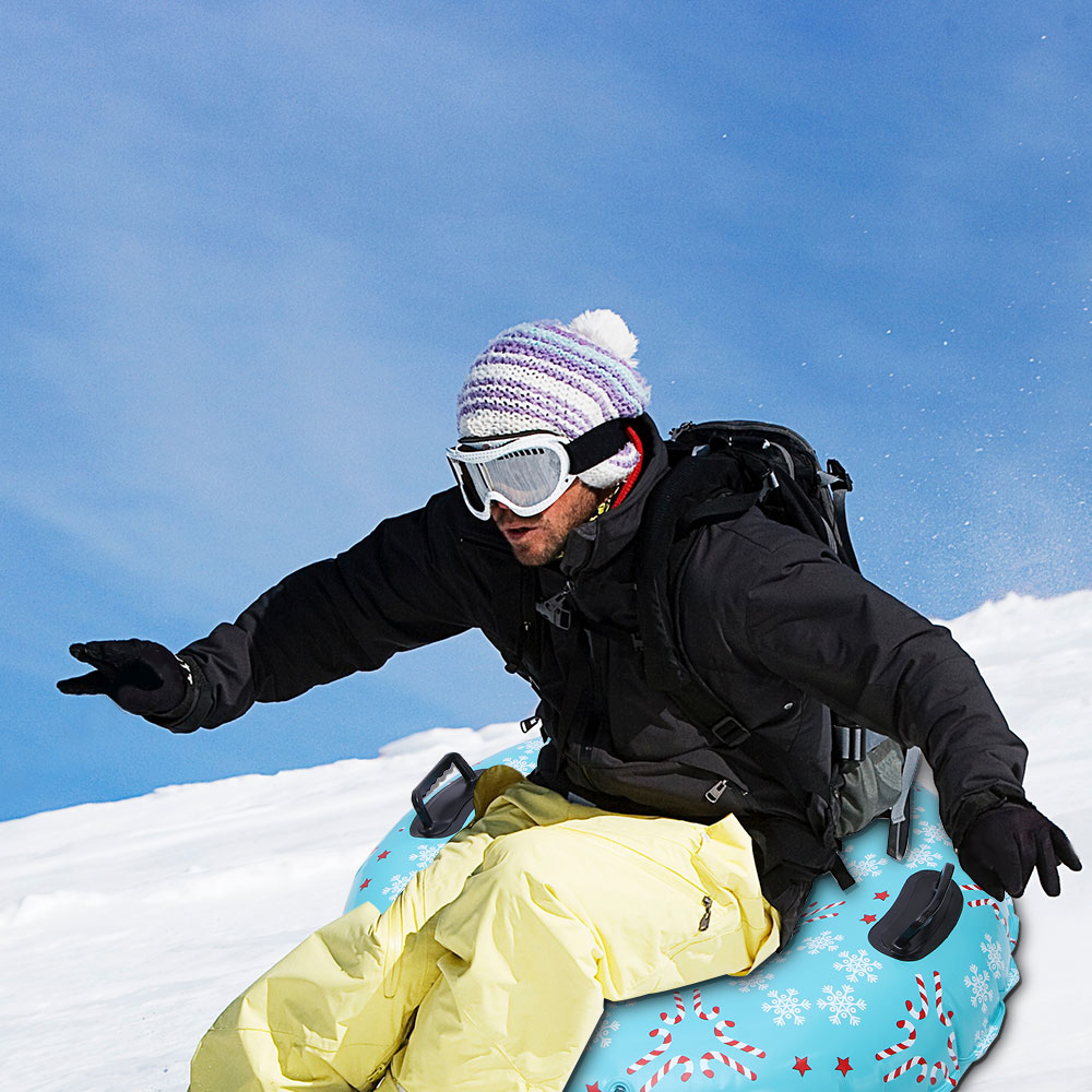 Inflatable Snow Tube PVC Snow Boat Snow Rider Sled With Handle Bottom Durable Children Outdoor Thickened Circle Snow Tube
