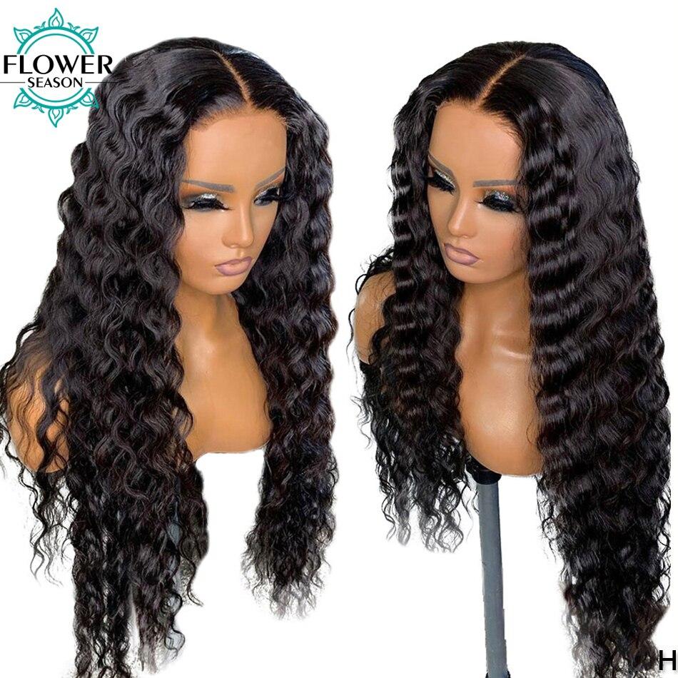 Deep Wave Fake Scalp Human Hair Wigs 150 Density Brazilian Remy 13x6 Lace Front Wig Hd Lace for women FlowerSeason
