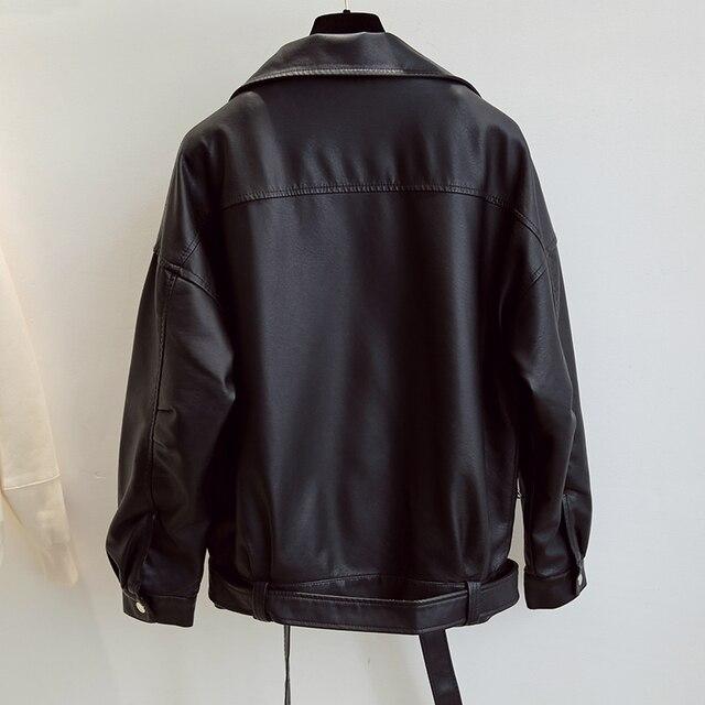 Fitaylor New Spring Women Loose Pu Faux Leather Jacket with Belt Streetwear Moto Biker Black Coat BF Style Oversized Outwear 5