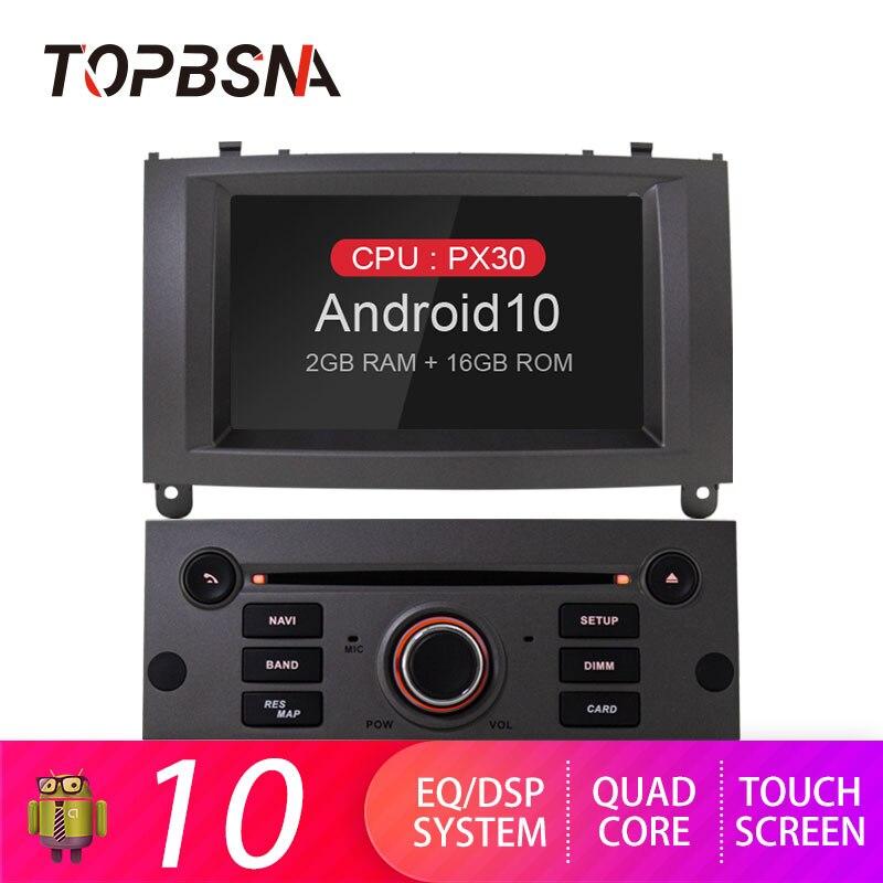 TOPBSNA Android 10 автомобильный dvd-плеер для Peugeot 407 2004-2010 GPS навигация WIFI 1 Din Автомобильный мультимедийный плеер Радио стерео AUX RDS