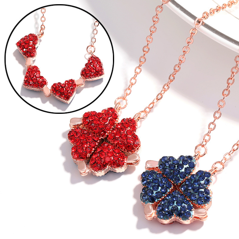 Fashion Women Girls Alloy Necklace Creative Red Blue Double Sided Four Heart Clover Pendant Lucky Grass Clavicle Chain Necklaces(China)