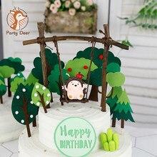 Gâteau topper décorations de fête d'anniversaire arbre hérisson une balançoire gâteau topper hawaïen été fête de mariage