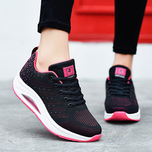 2019 New Height increasing sneakers woman Mesh breathable lace-up gym women fashion cheap running shoes for female sports