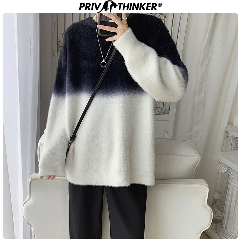 Privathinker Korean Spring Men Sweaters Hip Hop Patchwork Man Loose Pullovers Casual Knitted Collage Sweaters Mens O-Neck Tops