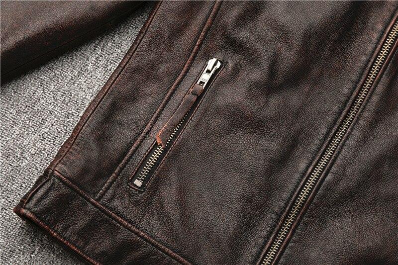 Hd9da8f4300c94509888ea1b949019ae7O Classic motor style,vintage genuine leather Jacket,fashion men brown Leather coat,street biker coat,sales
