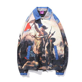 Gothic Liberty Leads the People Painting Printed Windbreaker Coaches Jackets Coats Hip Hop Streetwear Boyfriend Gift Men Clothes