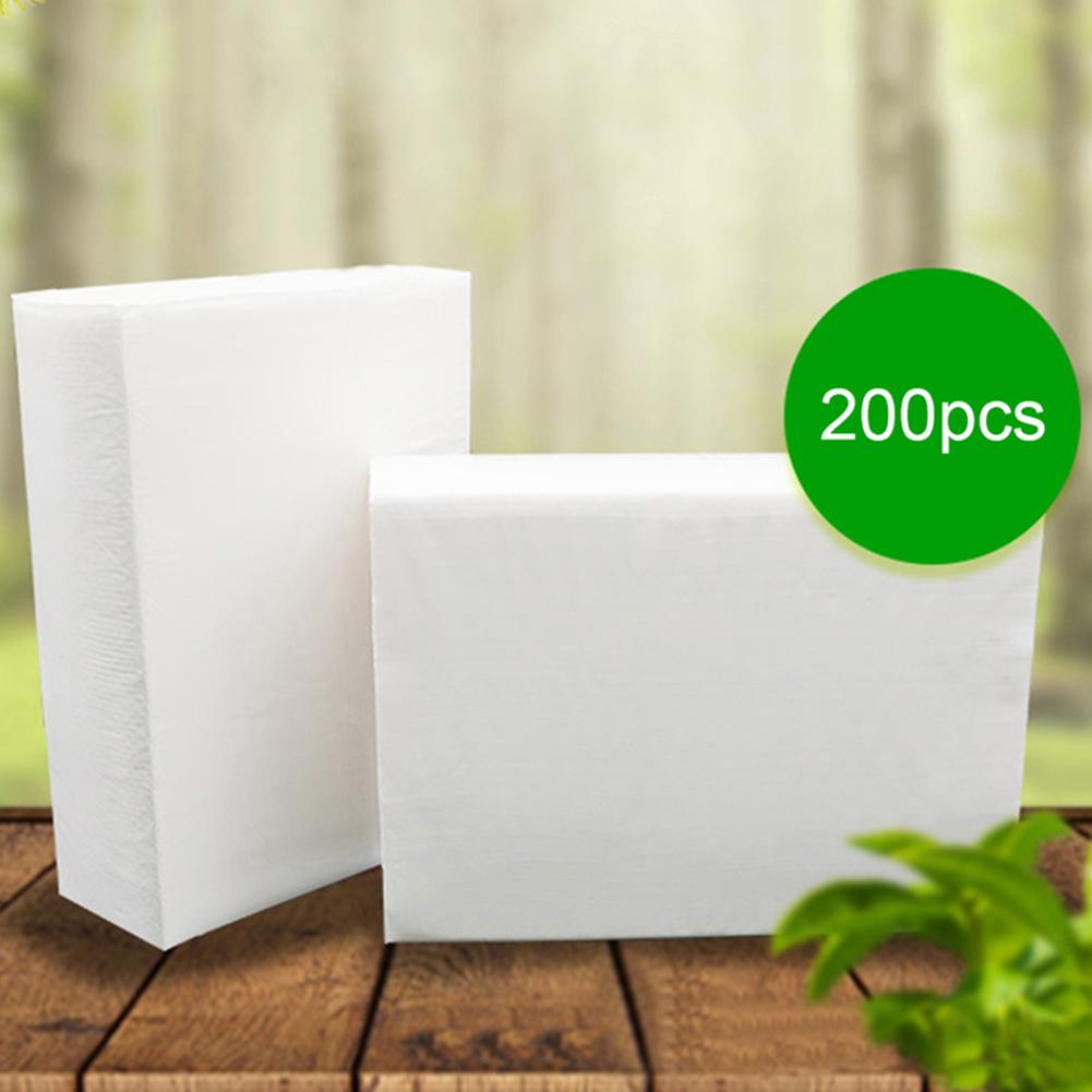 Hot 200 Sheets Disposable Natural Wood Pulp Thickened Napkin Paper Toilet Tissues