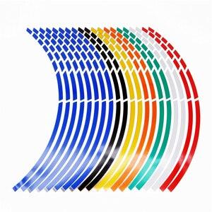"Image 1 - 17""18""19"" 16Strips Motorcycle Car Wheel Tire Stickers Reflective Rim Tape Motorbike Auto Decals For Yamaha Suzuki Honda kawasaki"