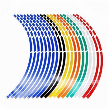 171819 16Strips Motorcycle Car Wheel Tire Stickers Reflective Rim Tape Motorbike Auto Decals For Yamaha Suzuki Honda kawasaki possbay 17 19 red motorcycle reflective stickers car wheel rim wheel hub rim stripe decal stickers for yamaha honda suzuki