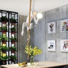 Lighting Rope Hanging-Lamp Led-Pendant-Lights Room-Decor Retro-Art Resin Restaurant Nordic