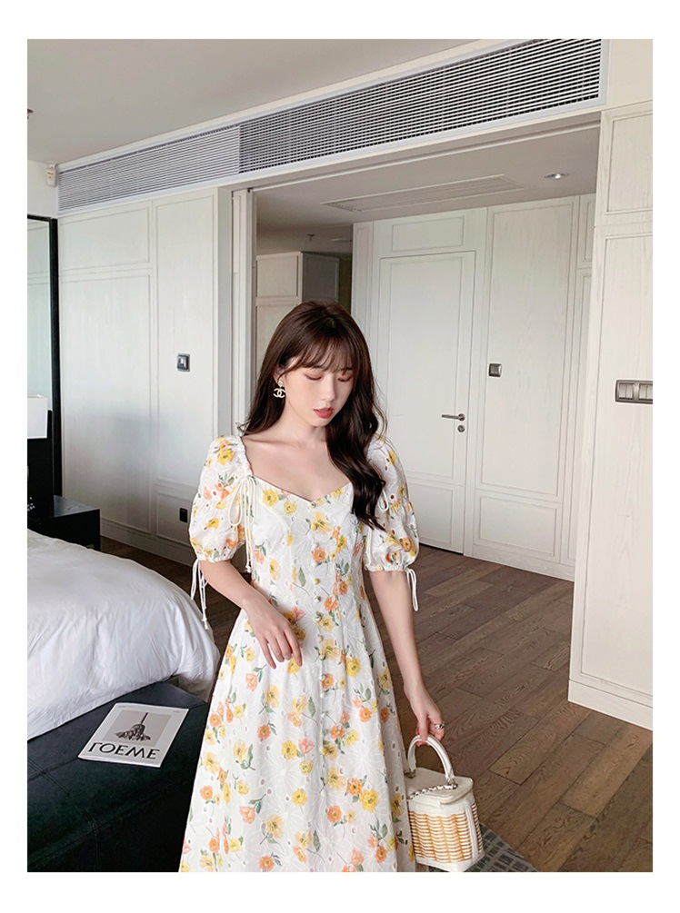 Hollow Embroidery Square-Neck Dress Floral female Summer 2021 New French High-waist Puff Sleeve Front With Buttons