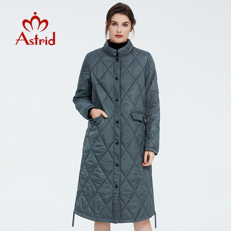 Astrid 2020 Spring Women Parka Coat Warm Jacket Women Thin Cotton Quilted Coat  Standing Collar New Collection  big size ZM-7214