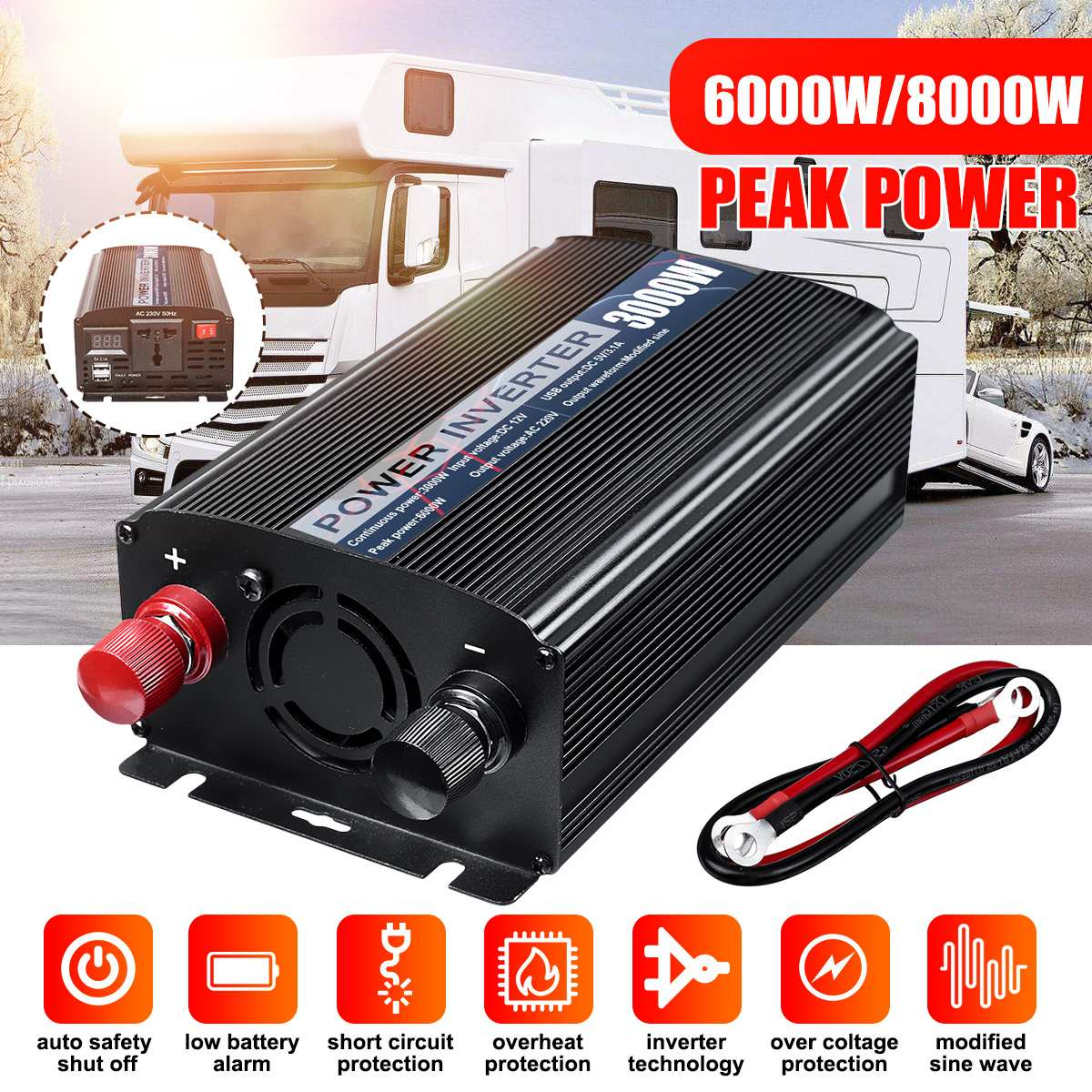 Dual USB Max 6000/8000W DC12V to AC220V Car Power Inverter Charger Converter Adapter DC12 to AC220 Modified Sine Wave Transromer