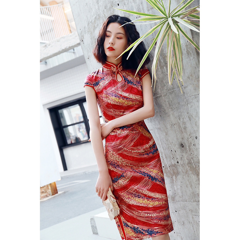 2020 Silk Dress Women Flora Print Chinese Traditional Dress Cheongsam Qipao Chinese Oriental Knee Length Chiffon Dresses