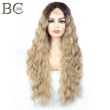BCHR Ombre Dark Roots Blonde Lace Front Wigs for Women 13*4 Synthetic Long Wavy