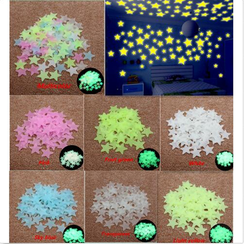 100 шт. пластиковые 3D светящиеся в темноте светящиеся флуоресцентные наклейки на стену