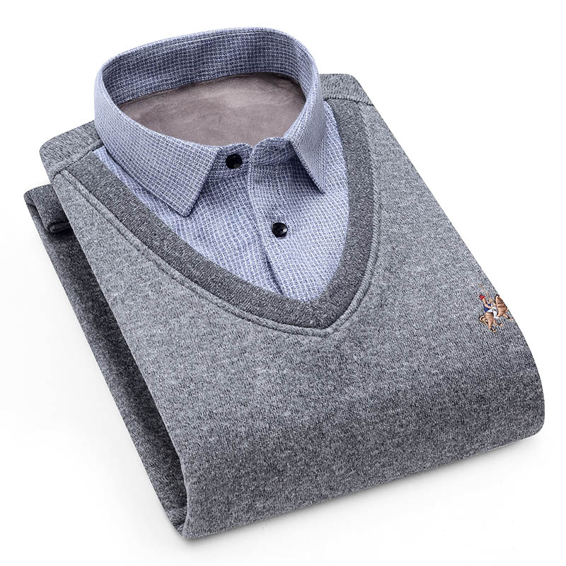 Aoliwen Men Sweater Cardigan Shirt Collar Plus Velvet Thickening Winter Long Sleeves Shirts Cashmere Dress Home Shirt Sweater