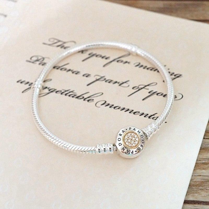 2019 Euro charm Jewelry beads bangle silver 925 pandoras bracelet women pulseras mujer gift,1pz