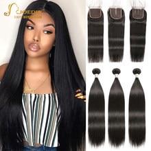Feixes de cabelo humano brasileiro com fechamento 8-30icnh pacotes retos com fechamento de renda joedir não remy cabelo humano para preto