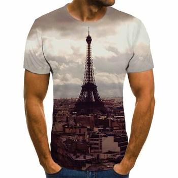 Men's 3D printed T-shirt landscape printing T-shirt men's T-shirt summer black T-shirt round neck beach T-shirt lightning t shirt trussardi t shirt
