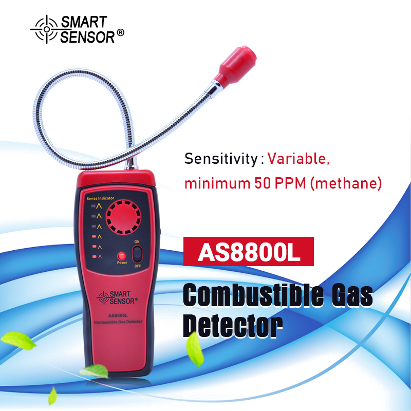 AS8800L Gas Analyzer Combustible Gas Detector Natural Gas Leak Location Determine Meter Tester Sound Light Alarm