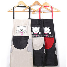 Kitchen Accessories Unisex Bear Cartoon Printing Sleeveless Housekeeping Adult Apron Hand Towel(China)