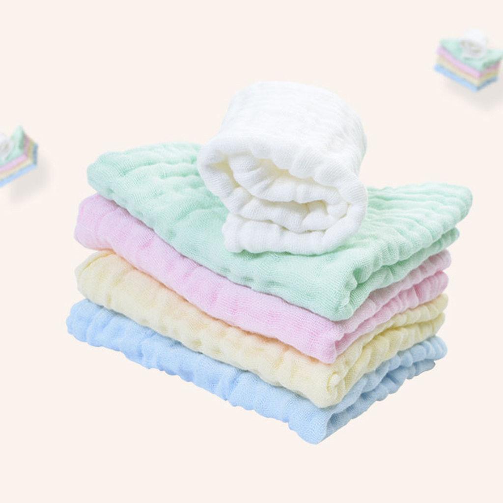Pure Cotton Infant Face Hand Bath Saliva Towel  Baby Bibs Handkerchief Pure Color Kids Blank Diy Handkerchief