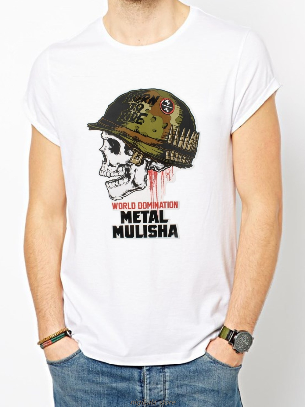 Metal Mulisha T-shirt homme dissoudre Motocross Racing Navy Blue Fox Small $30 NOUVEAU