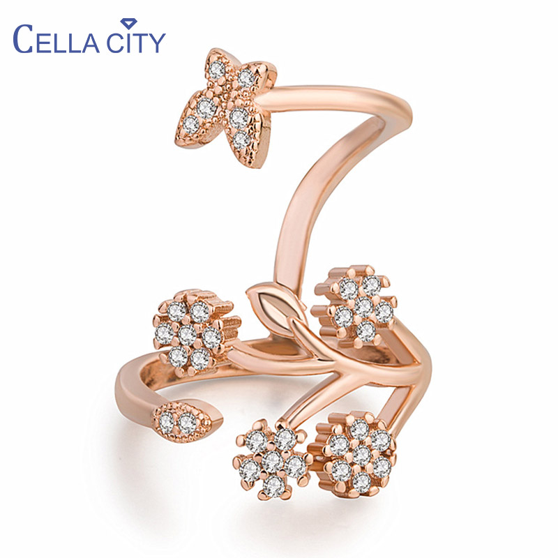 Cellacity Trendy Silver 925 Ring for Women Fine Jewelry Gemstones Plant Branch Butterfly Rose Gold Color OpeningAdjustable Party