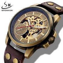 Reloj Automático de cuerda automática para hombre, esqueleto mecánico, novedad, deportivo, de marca de lujo