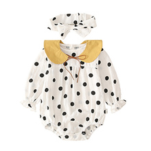 Baby Girl clothes Dot Printing Long Sleeve Bodysuits toddler Spring Autumn Casual Polka And Headband Kids Two-piece Outfit Set