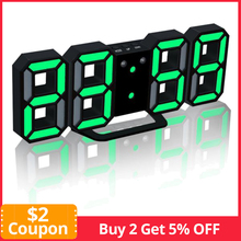 24/12 часов дисплей часы будильник светодиодный цифровые часы настенные подвесные 3D настольные часы календарь температурный дисплей Яркость Регулируемая