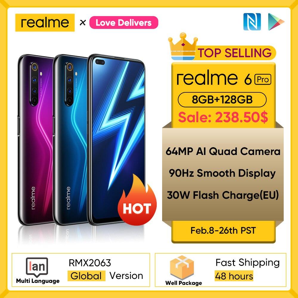 realme 6 Pro Unlockphone 8GB RAM 128GB ROM Mobile Phone Snapdragon 720G 30W Flash Charge 4200mAh Battery 64MP Camera Smartphones Cellphones  - AliExpress