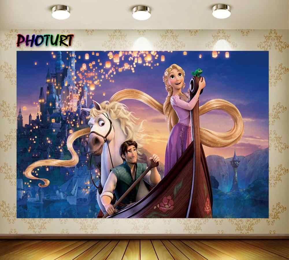 Photourt enredado Rapunzel princesa fotografía fondos fiesta de cumpleaños Fondo Castillo caballo Palacio vinilo foto estudios Props