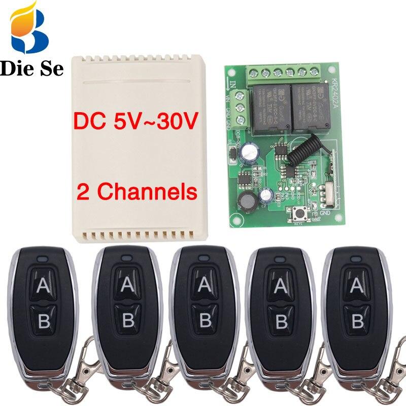 Универсальный беспроводной Радиочастотный переключатель с дистанционным управлением, 433 МГц, 5 В, 12 В, 24 В постоянного тока, 2-канальный релей...