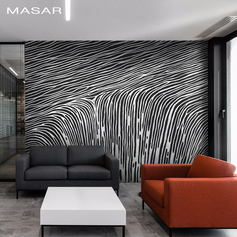 MASAR Creative Dense Black And White Stripe Mural Sofa TV Background Wall Wallpaper Xuanguan Corridor Restaurant Wallpaper