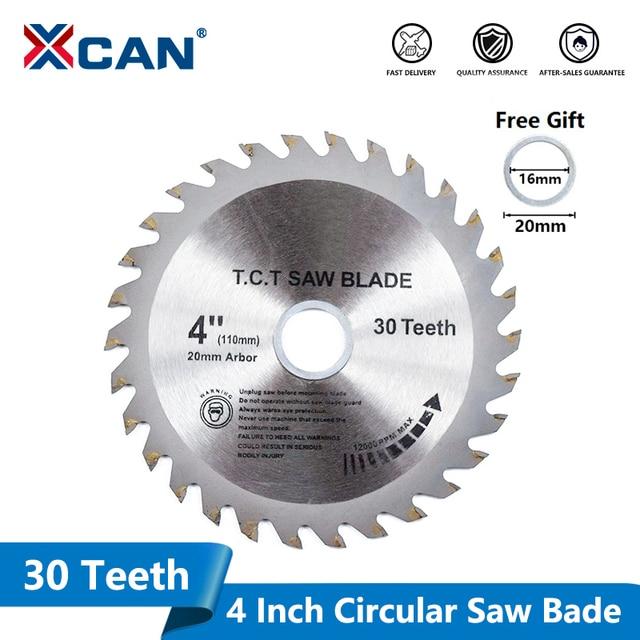 1XCAN 1pc 4 (110mm)x20x1.8mm 30 שיניים TCT ראה להב קרביד הטה עץ חיתוך דיסק מסור עגול להב