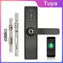 واي فاي قفل الباب الالكتروني مع الهاتف المحمول Tuya APP بصمة 13.56mhz IC بطاقة كلمة السر فتح بدون مفتاح قفل ذكيقفل كهربائي