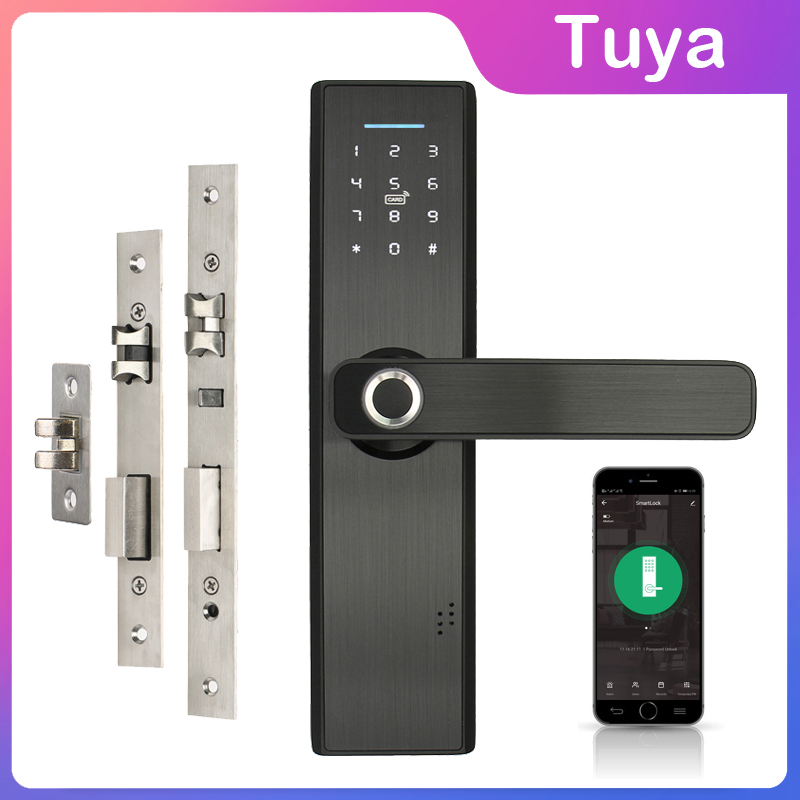Wifi Electronic Door Lock With Mobile Phone Tuya APP Fingerprint 13.56mhz IC Card Password Unlock Keyless Intelligent Lock(China)