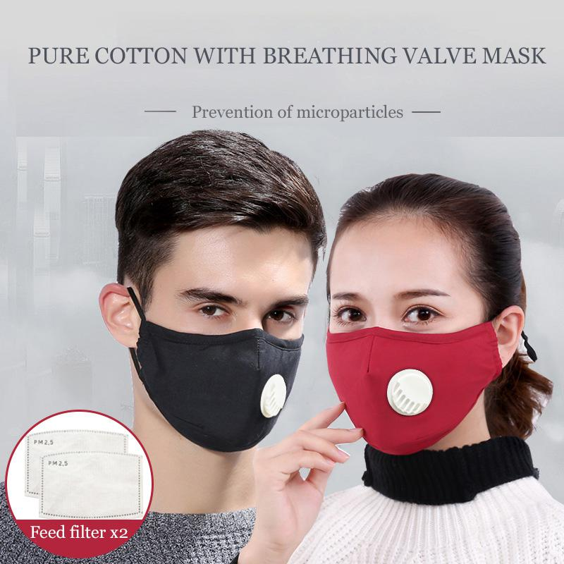 Fashion Cotton Face Mask Respirator Washable Reusable Mouth Masks + 2pcs Activated Carbon Filter Pm2.5 For Men Women Mask