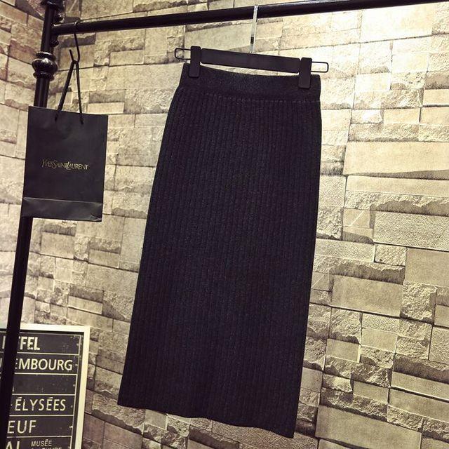 Falda de tubo para mujer nueva de punto Otoño Invierno gruesa alta cintura faldas de mujer joven fría talla grande Japón Falda