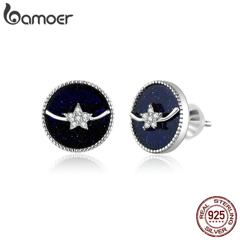 Bamoer Blue Enamel Sky Night Star Stud Earrings For Women Authentic 925 Sterling Silver Orecchini Fine Jewelry 2020 SCE835
