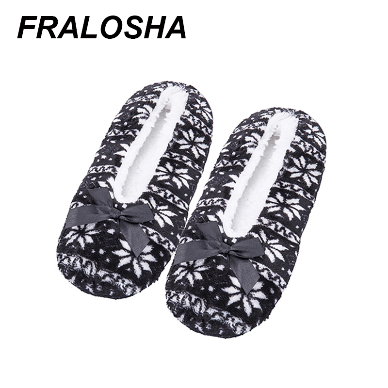 (Ship From US)FRALOSHA Snowflake Pattern Home Woman Shoes Cotton Wool Plush Women Floor Shoes Non-slip Indoor Shoes