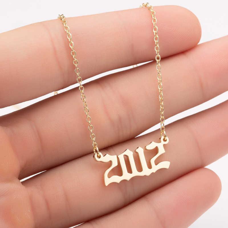 Yiustar rok numer wisiorek naszyjnik ze stali nierdzewnej złoty naszyjnik typu choker dla mężczyzn na zamówienie rok 1997 2005 2008 prezent urodzinowy 1997 do 2008