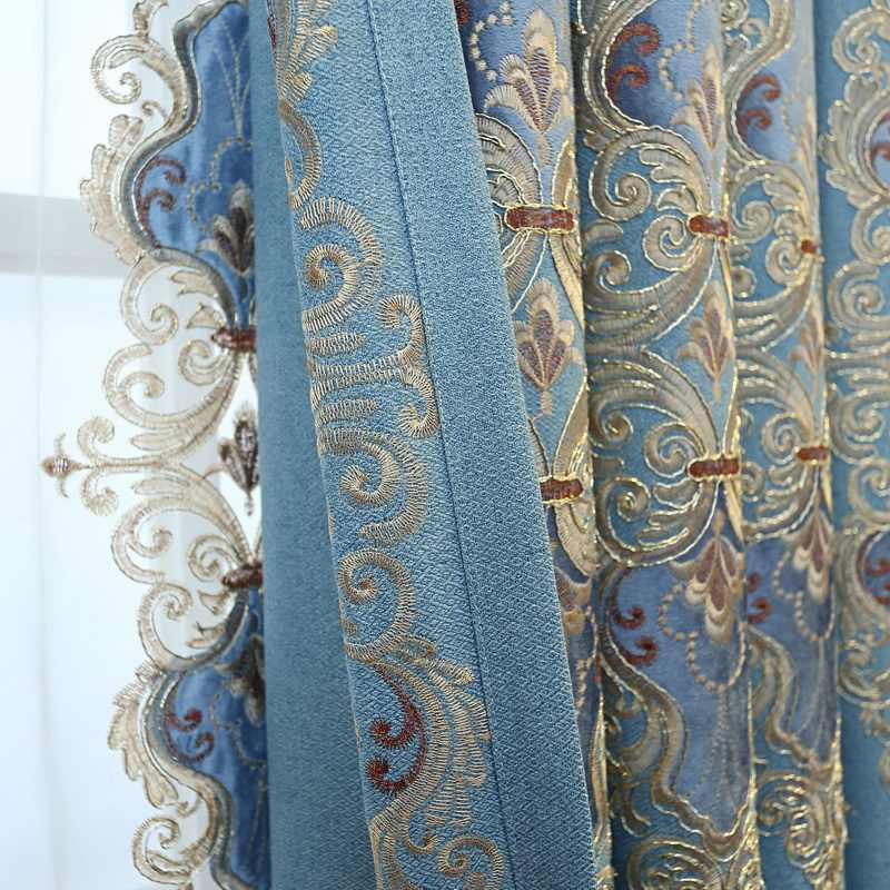 Роскошная затемненная занавеска с голубым цветком, Бархатная веревка, вышитая оконная занавеска, занавеска для спальни, гостиной, виллы, тюль D4