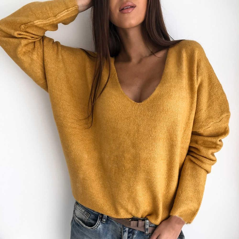 Nibesser Sexy Hollow Keluar V-Leher Rajutan Sweater Wanita Musim Gugur Lengan Panjang Permen Basic Atasan Longgar Wanita Sweater dan Pullovers