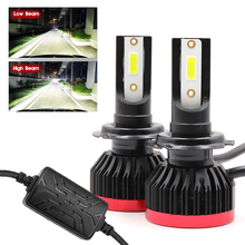 2 х 48W 6500K COB H4 светодиодный H7 H11 H8 H1 H3 12-24V автомобильные лампы для передних фар 6500LM 9005 9006 Автомобильные фары для автомобилей Ford BMW Benz Toyota