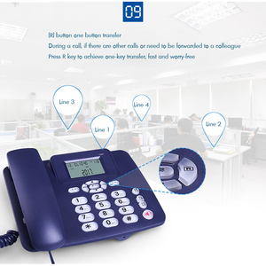 Image 5 - Wired Landline Phone with Speaker, R Key, Button Light, Adjustable Font Brightness, Dual Port Corded Telephone for Home Office